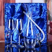 Crystal element wine gift set (1 pc 1500ml wine decanter + 1 pair 470ml champagne glasses + 2 pcs beer bottle stopper)