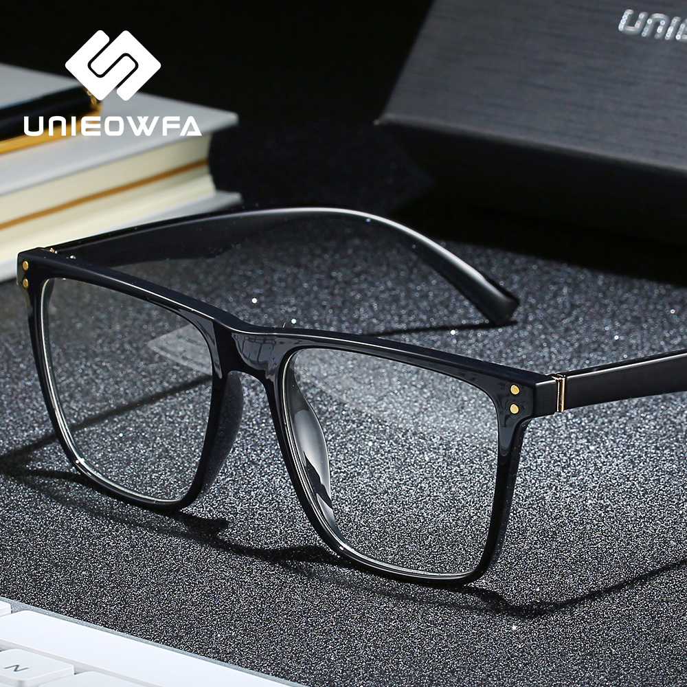 UNIEOWFA Square Retro Prescription Glasses Frame Men Transparent Clear Eyewear Spectacles Frame Optical Myopia Eyeglasses Frame