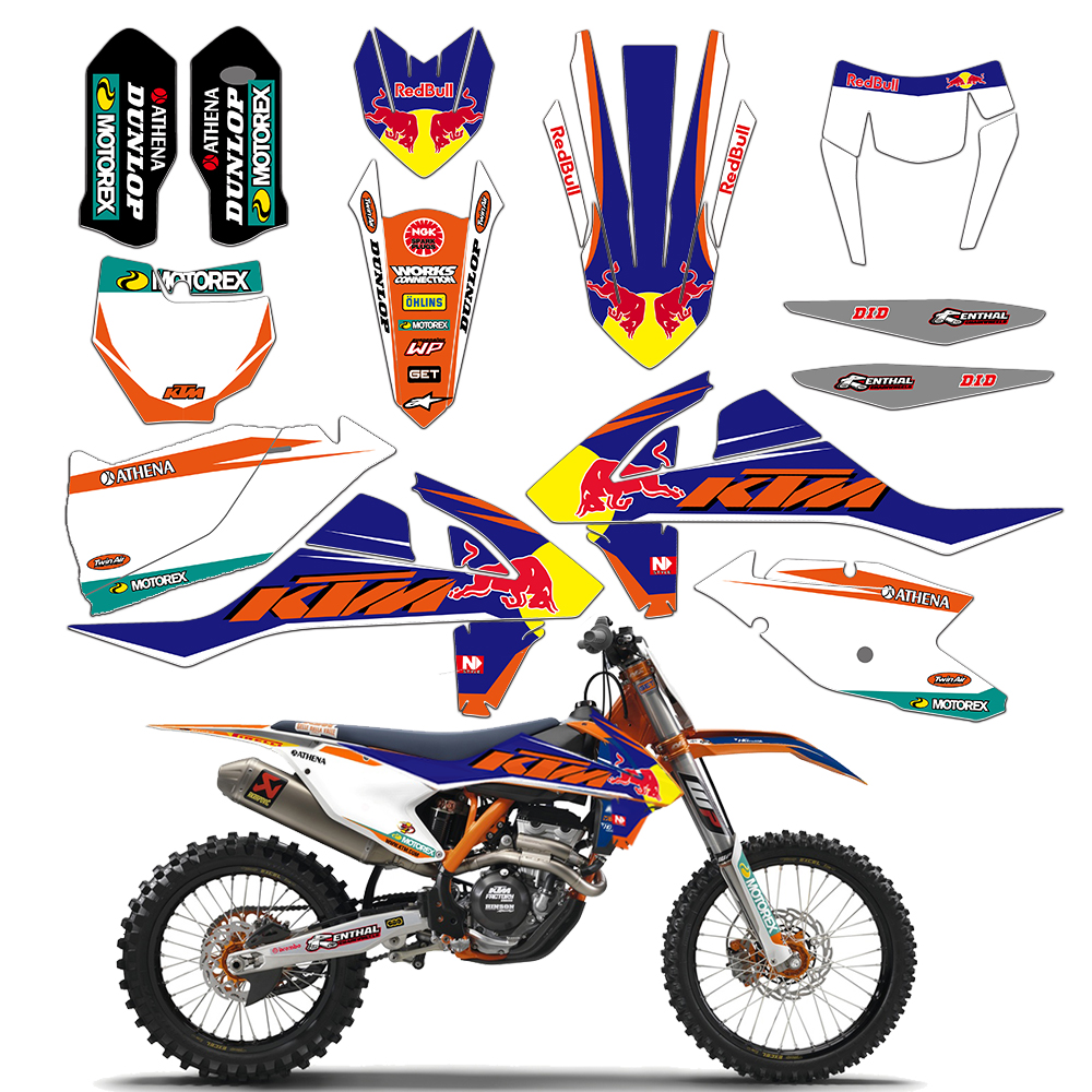 New Bull Full Graphics Decals Stickers Kits For KTM 250 300 350 450 EXC 2017 2018