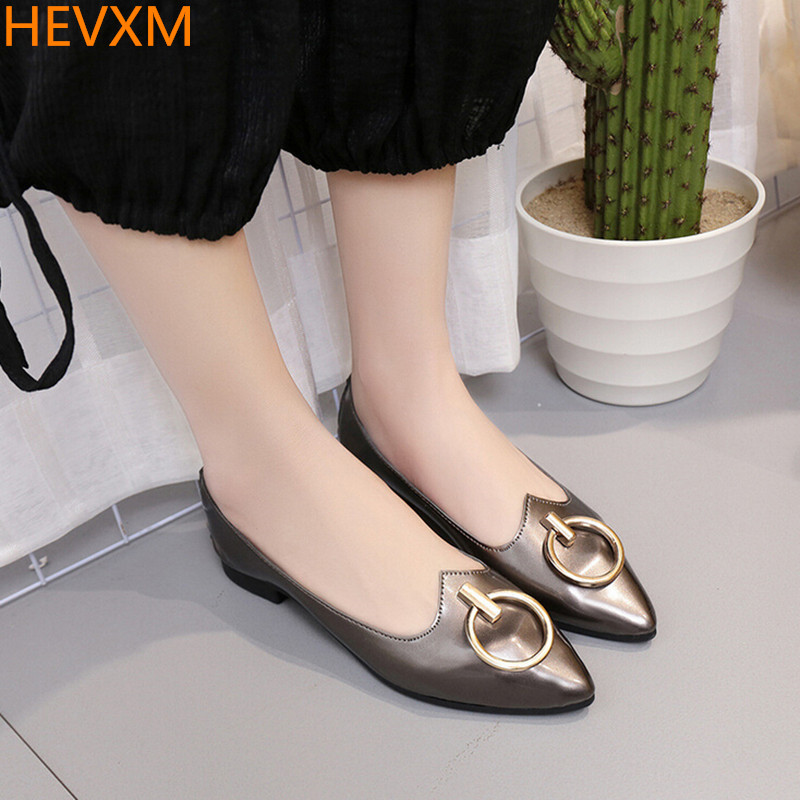 HEVXM 2017 spring new ladies fashion metal buckle simple wild flat shoes women casual shallow mouth pointed shoes size 35-39 2017 the new european american fashion horn bow pointed mouth shallow comfortable flat sheet metal red shoes tide size 35 41