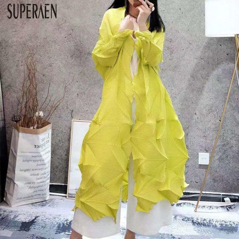 SuperAen 2019 ฤดูใบไม้ร่วงฤดูใบไม้ผลิใหม่ผู้หญิงยาวเสื้อสีทึบหลวม Pluz ขนาดเสื้อหญิงยุโรปเสื้อผ้าผู้หญิง-ใน เสื้อสตรีและเสื้อเชิ้ต จาก เสื้อผ้าสตรี บน   1