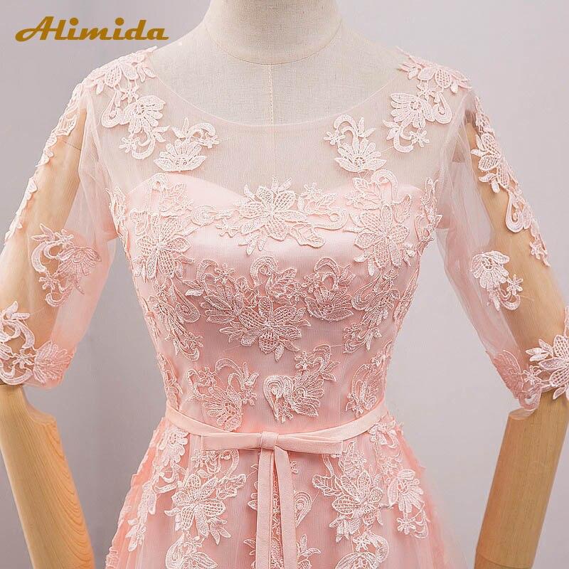 Elegant Pink Evening Dress Long 2017 Appliques Lace Banquet Party Dress Half Sleeve Prom Dresses Robe De Soiree vestido de festa