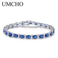 יוקרה UMCHO יצרה כחול ספיר צמיד לנשים 925 תכשיטי כסף סטרלינג זהב לבן מצופה תכשיטי חתונה רומנטית