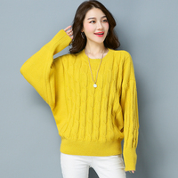 Winter Batwing Sweater Female Solid Colors Sweater Women Oversizes Autumn Elegant Ladies Loose Knitted Sweaters High Quality