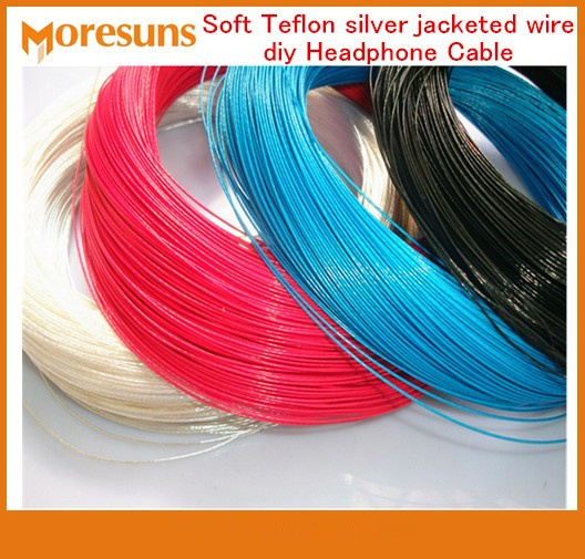 Free Ship 20M/lot Soft Silver Jacketed Wire Diy Headphone Cable/Audio Signal Transmission Line