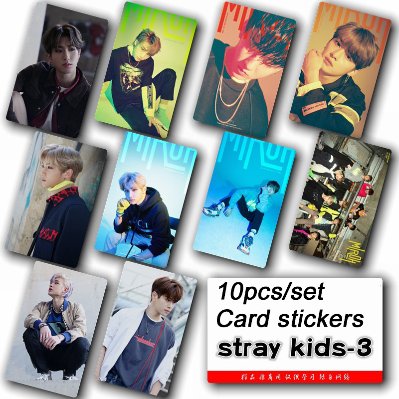 10pcs/set Stray kids KPOP photo cards stickers album sticky adshesive kpop lomo card photocard sticker fashion NEW