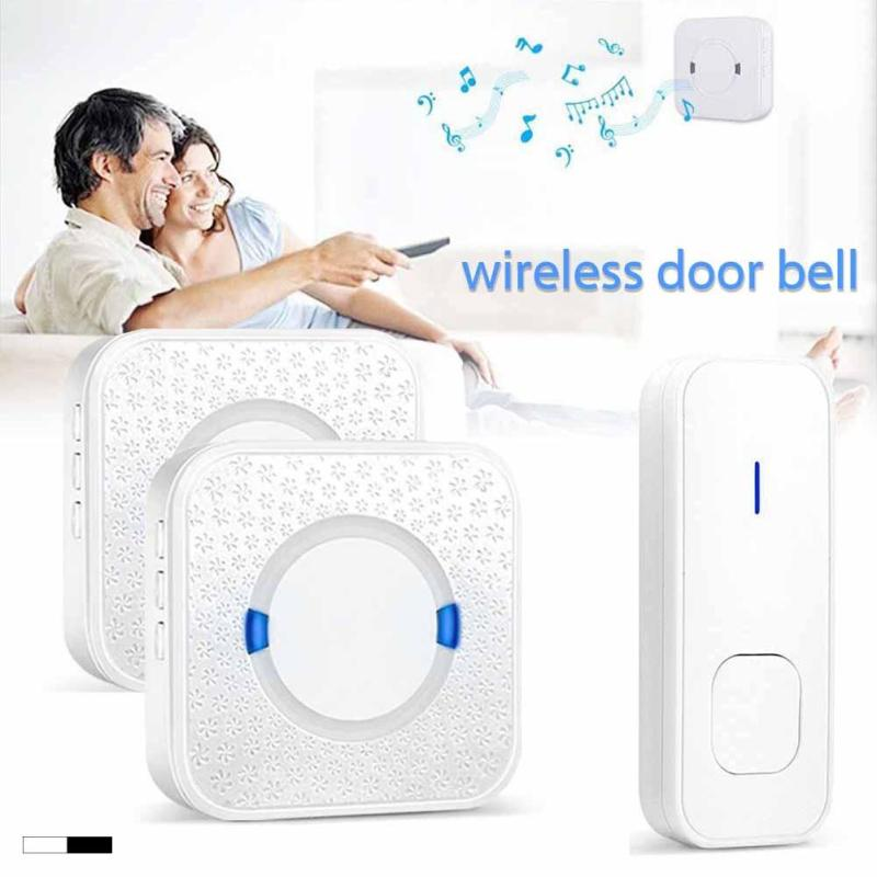 White Waterproof Wireless Doorbell 300M Remote Control EU Plug LED Door Bell Chime 220V 1 Push Buttons 1 Receivers Z35 wireless cordless digital doorbell remote door bell chime waterproof eu us uk au plug 110 220v