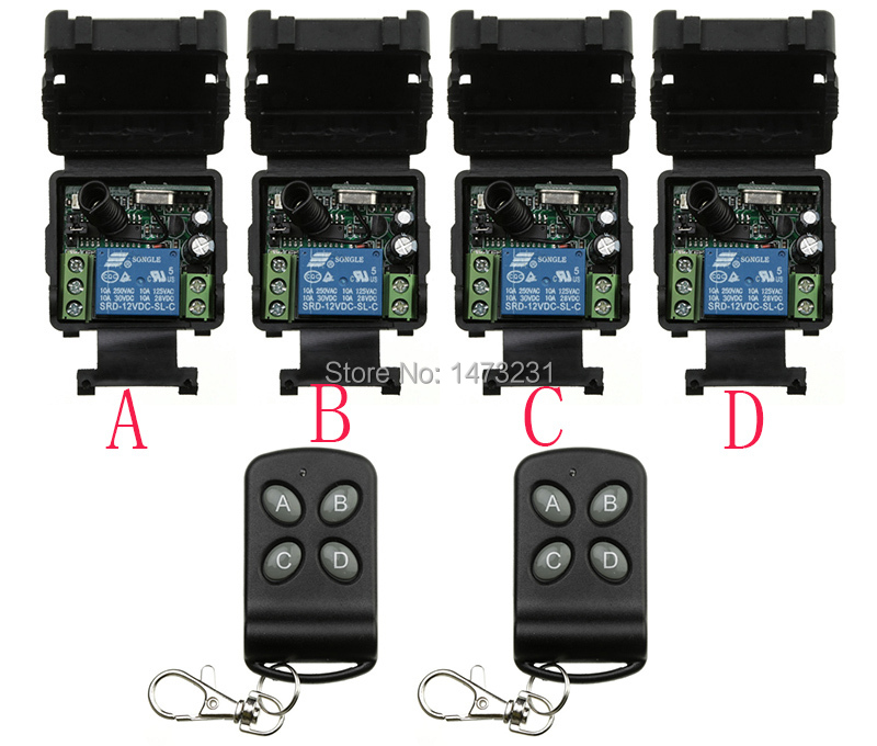 Free Shipping New DC12V 1CH RF wireless remote control switch system 2 transmitter & 4 receiver(switch) relay smart house z-wave насос leberg tvm60 1 cpw 20