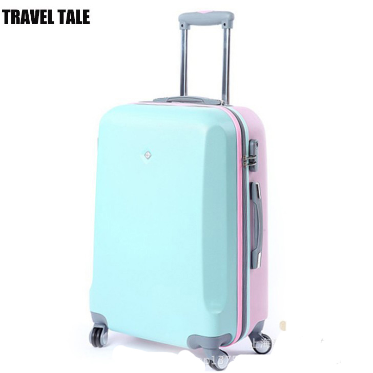 Travel tale 20,24,26 Inch,ABS Spinner Hardside Luggage pink/blue aluminum frame travel Suitcase for girl