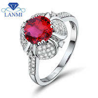 Women Jewelry Round 7mm Ruby With Natural Dia In Solid 14Kt White Gold Fantastic Engagement Ring