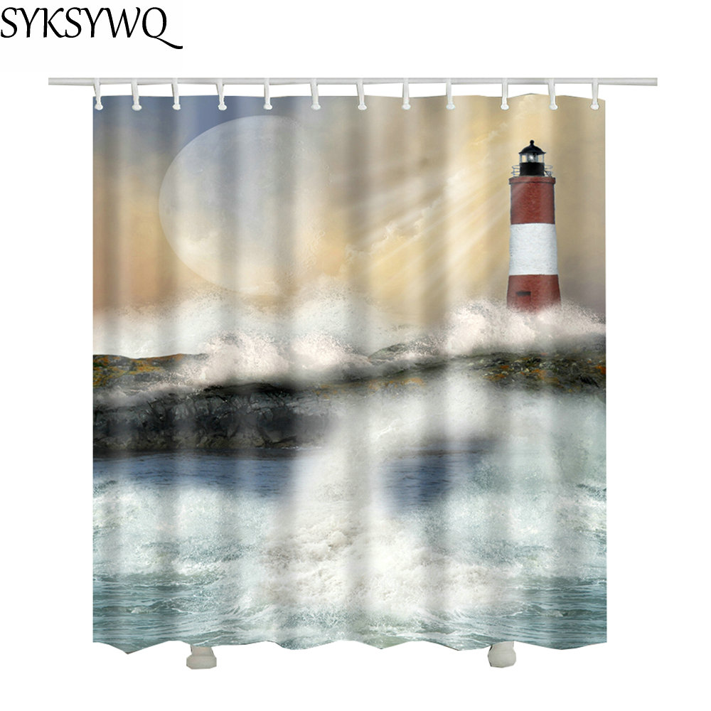 Aliexpress Buy Ocean Lighthouse Shower Curtain Waterproof Fabric New Design Drop Shipping Brand Bathroom Curtains Sea From Reliable