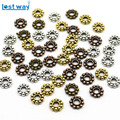 New Fashion 6mm Wholesale 100pcs Daisy Flower Spacers beads Metal Gold Tibetan Silver Spacer Beads for Jewelry Making