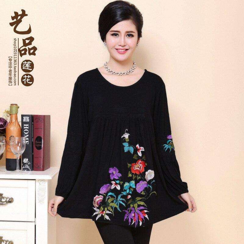 Printemps chinois grande taille mulheres t-shirt à manches longues t-shirt femmes lâche d'âge moyen ropa mujer hauts t-shirts graphiques femmes