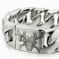 LINSION 6 Lengths Deep Engraved Huge Heavy 316L Stainless Steel Pirate Skull Mens Biker Rock Punk