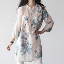 Bigsweety Cotton Linen Shirts Vintage Women Floral Print Blouses Casual Loose Tops Female Long Shirt Blusas Tunic Chinese Style(China)