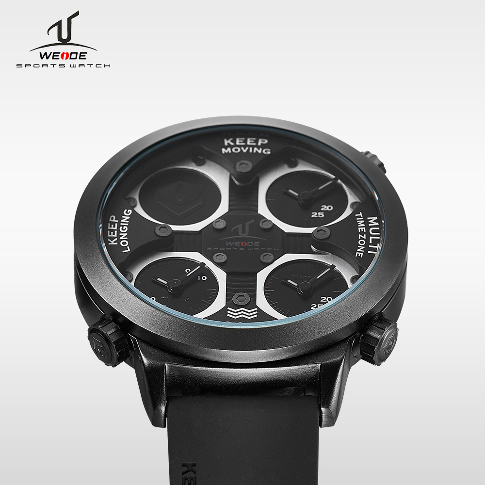 цена на WEIDE top Brand Quartz Sports Watches Men Military Army Black Waterproof automatic Clock Fashion Big Dial With Gift Box UV1503