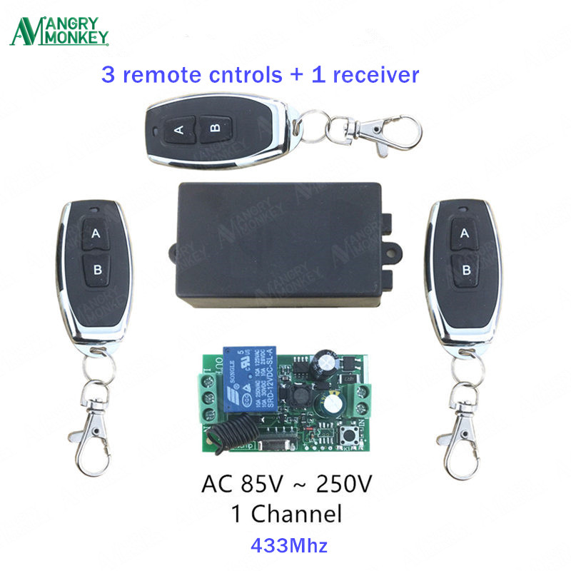 433Mhz Universal Wireless Remote Switch AC 110V 220V 1 Channel Relay Receiver Module and 3 peices RF 433 Mhz Remote Controls image