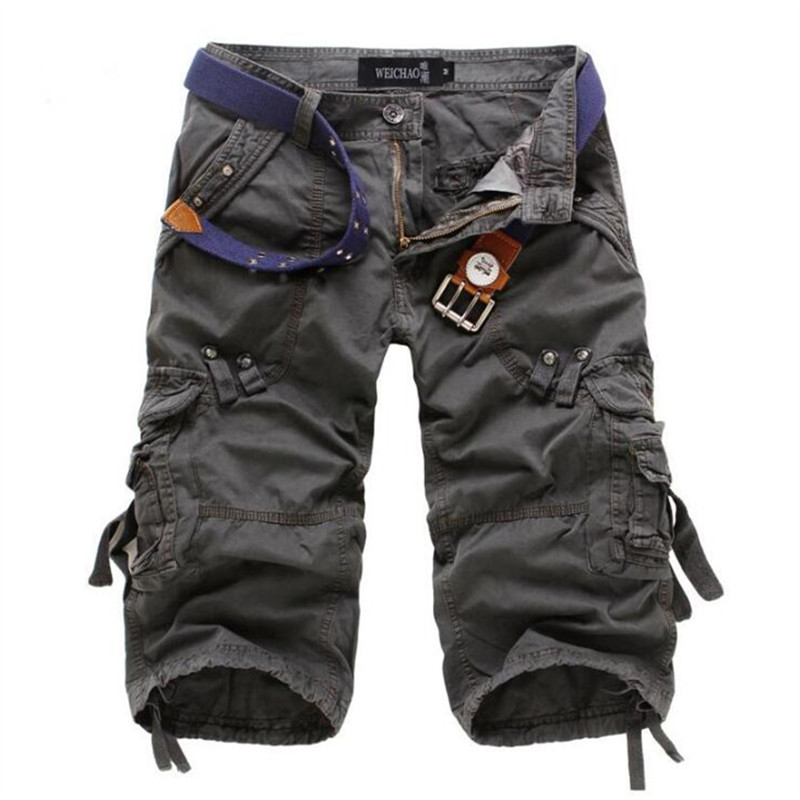 Mens Cargo Casual Shorts Fitness Brand Clothing Pockets White Shorts Men Cotton Loose Work Shorts Masculino Ropa Plus Size 40
