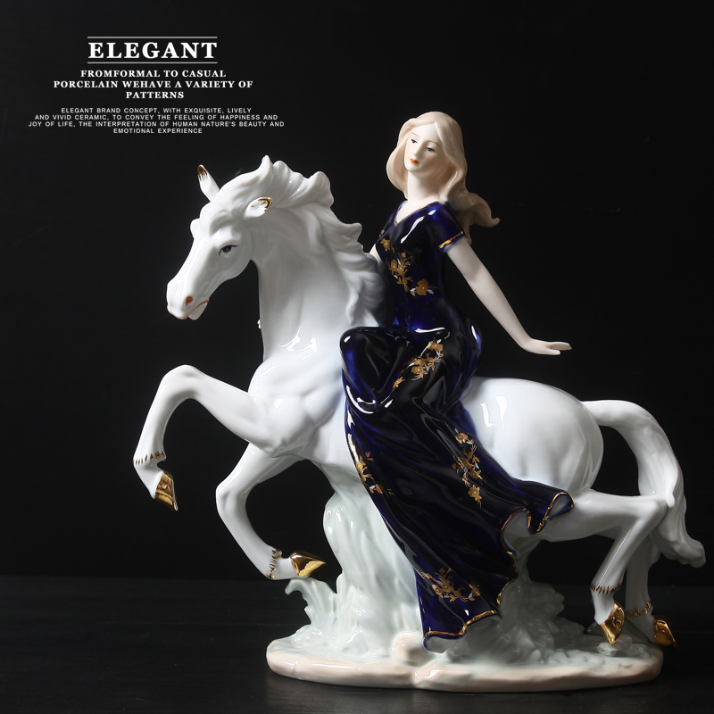 handmade ceramic <font><b>elegant</b></font> woman ride horse ornaments modern <font><b>home</b></font> <font><b>decorations</b></font> creative wedding gift pretty girl on horse furniture