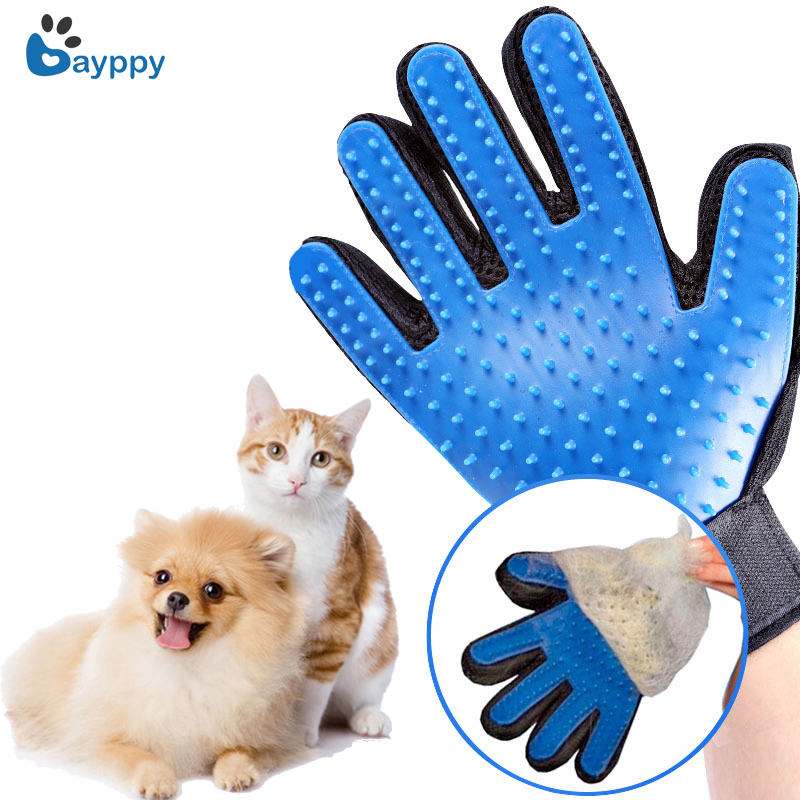Pet Bath Groom Tvättstädning Massage Handske för Gentle Efficient Pet Dog Cat Grooming Handske Mitts Borste Komb Cleaner Groomer