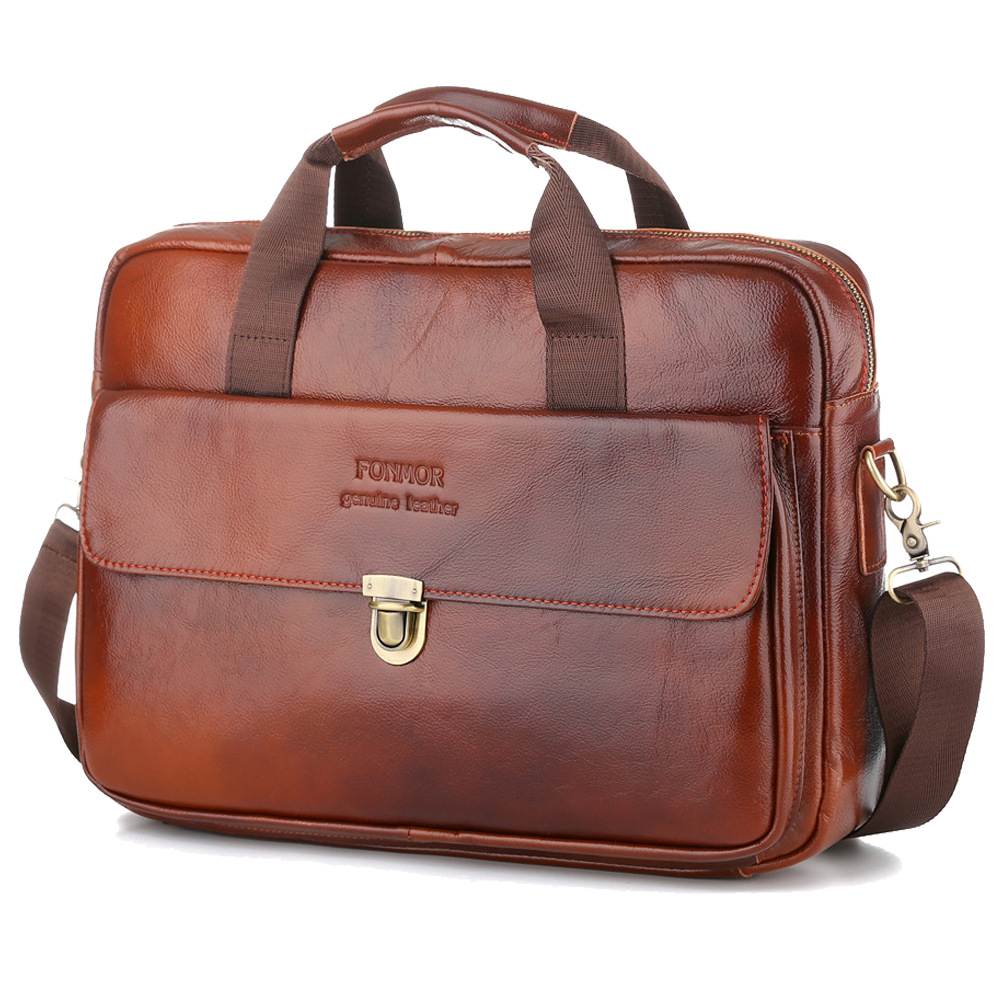 Cow Genuine Leather Men Briefcase Bag Business Handbag Male Laptop Shoulder Bags Tote Computer Natural Skin Briefcase 14 Inch