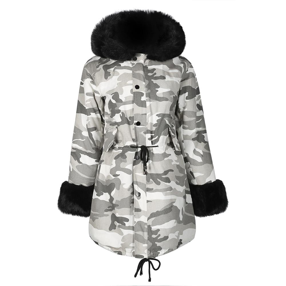 Sisjuly Camouflage Winter Hooded Faux Fur Women Overcoat Slim Warm Jacket Long Thicker   Parkas   Girl 2019 Drawstring Female Coats