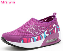 women running shoes Floral Print Leather Platform Shoes Women AIR sneakers cushion Swing Wedge sport Shoes zapatillas mujer