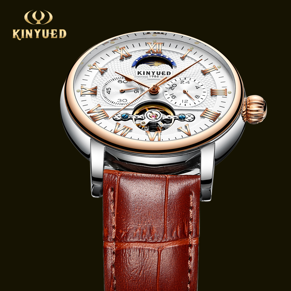 KINYUED Fashion Automatic Mechanical Mens Watches Top Brand Luxury Moon Phase Calendar Watch Men Business erkek kol saati forsining full calendar tourbillon auto mechanical mens watches top brand luxury wrist watch men erkek kol saati montre homme