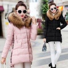 2016 fashion large fur collar clothing female slim medium-long winter coat women thick down jacket ladies plus size outerwear