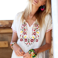 Floral Embroidery Mexican Blouse Summer Short Wild Tie In Fronts With Tassel Vintage Hippie Chic Ethnic