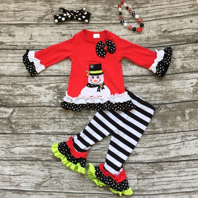 girls Christmas clothing  baby girls snowman outfits children boutiques clothes girls stripe ruffle pants with accessories