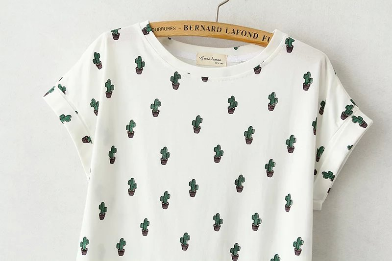 HTB1ucZhLVXXXXapaXXXq6xXFXXXM - New Summer T-shirts For Women Cactus Short Sleeve