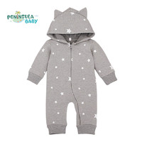 3D Cartoon Star Pattern Hooded Baby Rompers Newborn Spring Clothing Cotton Long Sleeve Jumpsuits Boys Girls