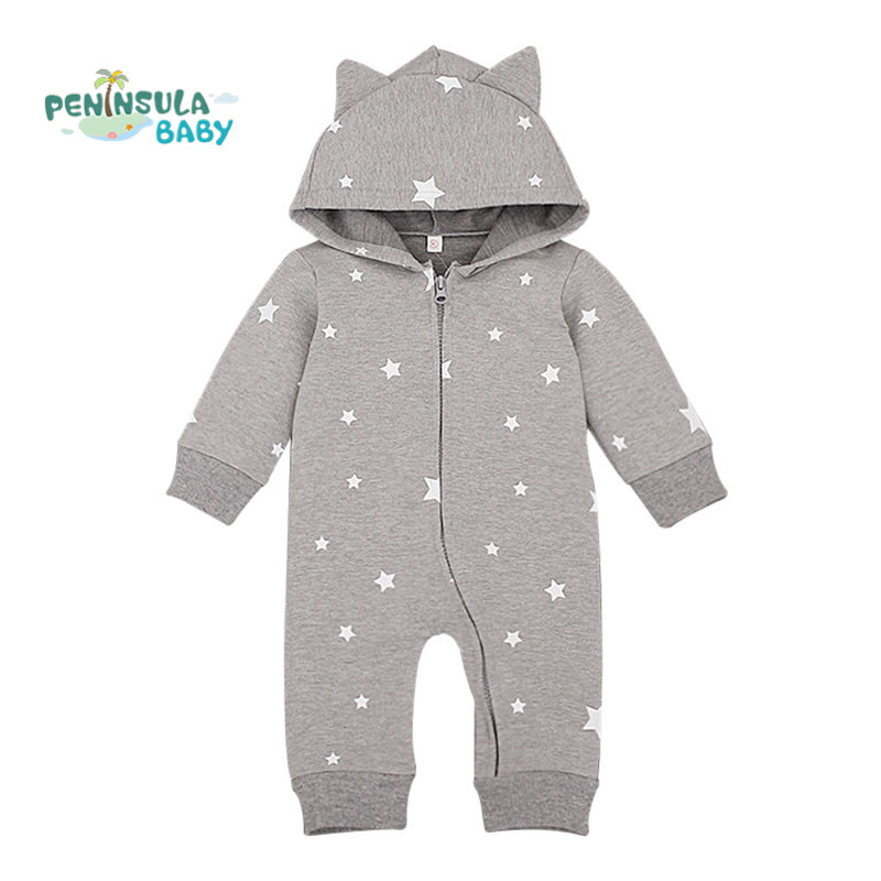 Spring Cartoon Star Pattern Hooded Baby Rompers Newborn Clothing Cotton Long Sleeve Jumpsuits Boys Girls Outerwear Costume baby rompers 2016 spring autumn style overalls star printing cotton newborn baby boys girls clothes long sleeve hooded outfits