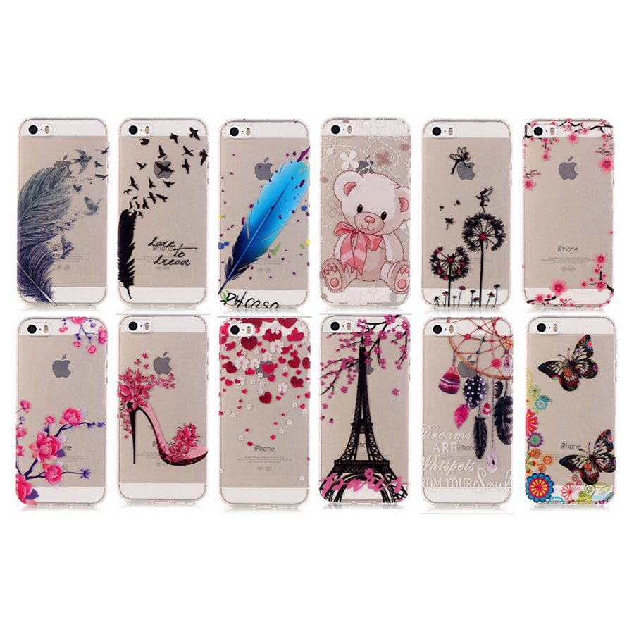 for iPhone5s Luxury TPU Soft Case For iPhone 5 5s SE Back Cover Skin Cartoon Cute Bear Dandelion Feather Love Hearts Patterns