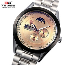 Top Brand Mecánico Hombres Fase Lunar Relojes TEVISE Marca de Lujo Gran Dial Relojes Luminoso Reloj de Pulsera Relogio masculino