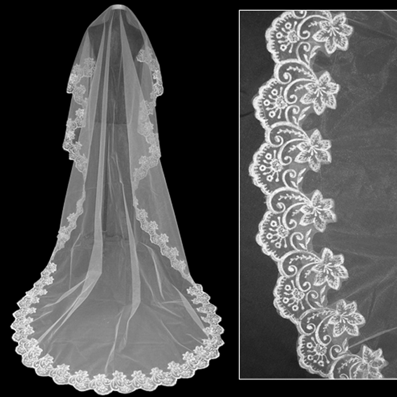Wedding-Veil-Lace-Cathedral-Accessories-About-3-M-Long-Voile-Mariage-Cotton-Cheaps-Simple-Vail-Bride