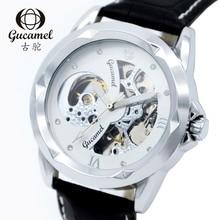 Новый Кожаный Ремень БОЛЬШОЙ Циферблат мужская мода бизнес часы полые автоматические механические часы