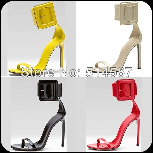 9a0e27c2bc3 Summer women ankle buckle pump sandals patent leather strap stiletto high  heel shoes cheap white black red yellow size35 to 41