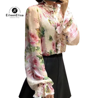 Женские шелковые блузки Повседневное Blusas 2018 осень с длинным рукавом с цветочным принтом женская блузка элегантный