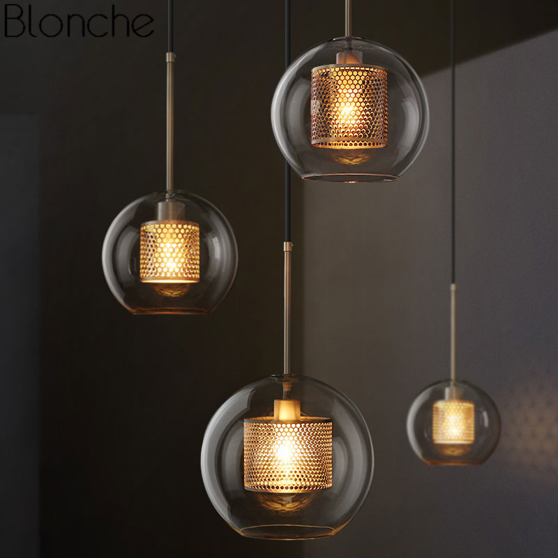 Nordic Modern Pendant Lights Loft Led Glass Ball Hanging Lamp Dining Room Industrial Decor Kitchen Fixtures Suspension Luminaire iwhd led pendant light modern creative glass bedroom hanging lamp dining room suspension luminaire home lighting fixtures lustre