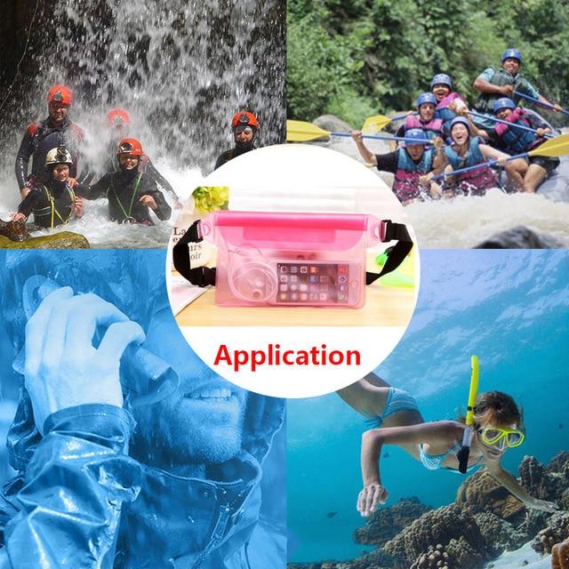 Waterproof Swimming Bag Ski Drift Diving Shoulder Waist Pack Bag Underwater Mobile Phone Bags Case Cover For Beach Boat Sports 6