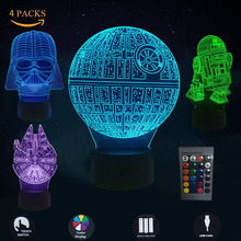 4PCS/Lot Star Wars Night Light 3D LED Lamp Millennium Falcon Death Darth Vader R2D2 USB Table Lamps Home Nightlight