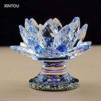 XINTOU Kristal Cam Lotus Çiçeği Mumluk Feng shui Silindir Vazolar Düğün centerpieces buda kandil Mum El Sanatları