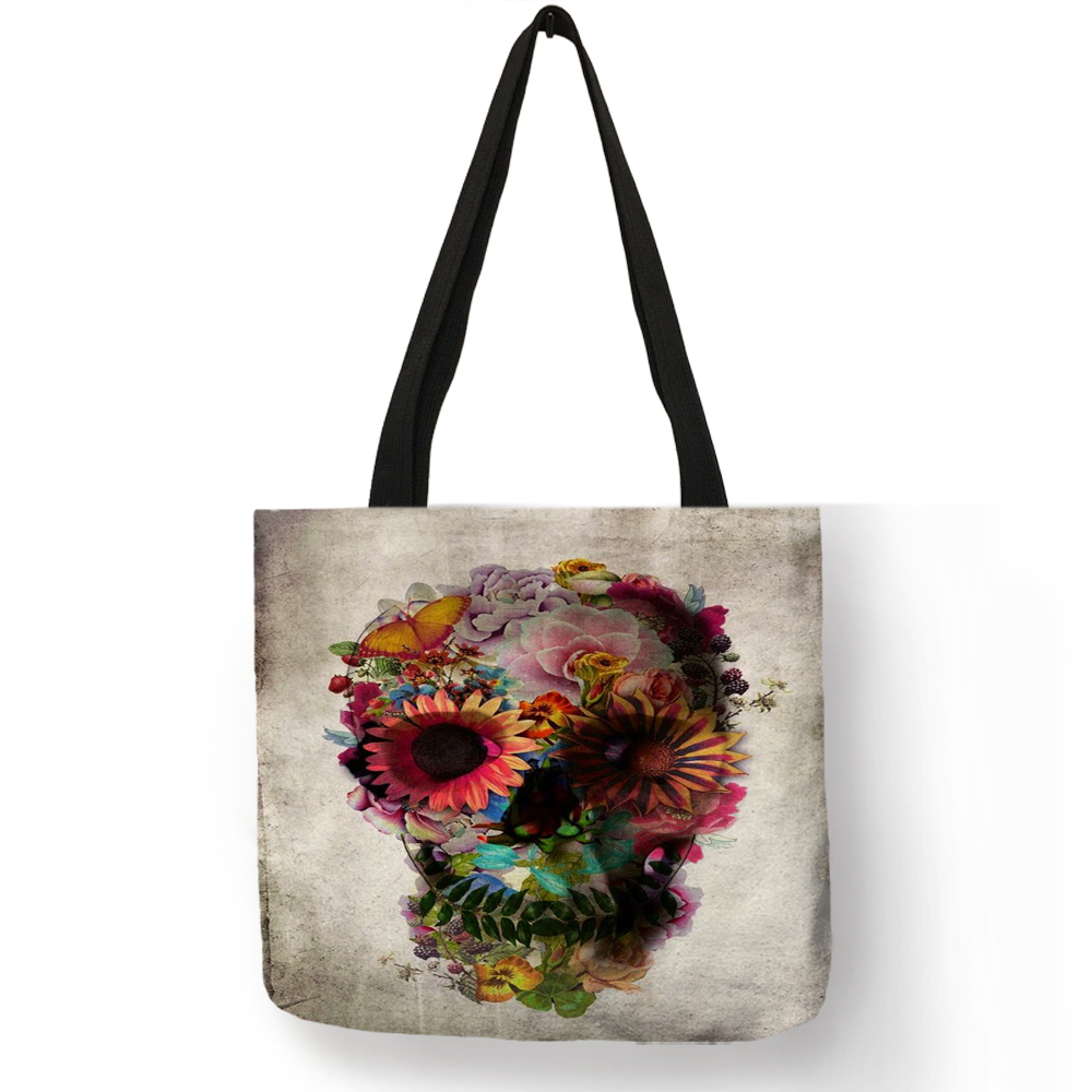 Exclusive Design Sac A Main Shoulder Bag Floral Skull Art Tote Bags for Ladies Girls Linen Eco-friendly Casual Large Handbag tote bag