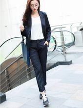 2016 Women South Korea Official Stripe Pants Cute Polka Dot Western Style Suit 1 Set