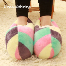 DreamShining Hot Creative New Home Shoes The Bulk Of Cute Bread Super Soft Slippers Warm Slippers Winter Miss Mao Rong Stripes