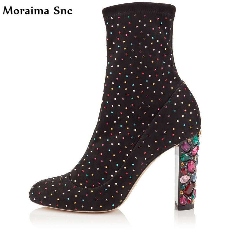 Moraima Snc hot sales women sexy boots square heel Round toe colorful crystals women sexy catwalk high heel Gladiator boots moraima snc red boots transparent high heels boots women square toe mid calf rainboots sexy ankle boots for women bottine femme