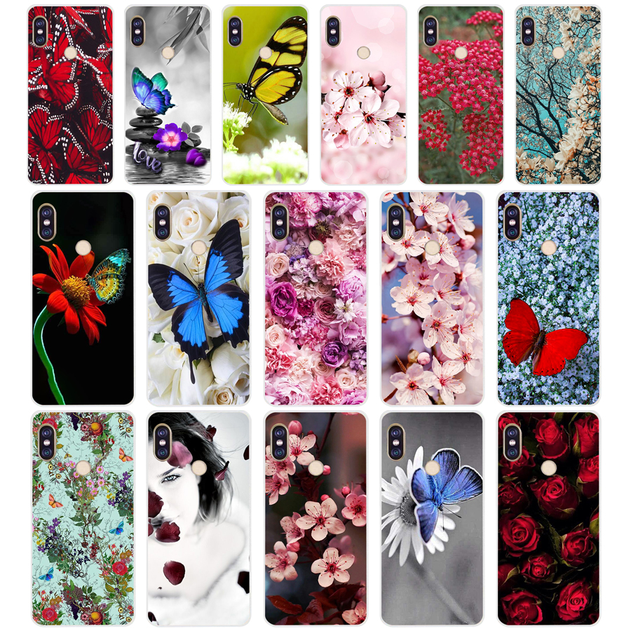 154sd Red Butterfly On White Roses Flower 02 Soft Silicone Tpu Cover Phone Case For Xiaomi Redmi 5a 5plus Note 5 5a Pro Mi 6
