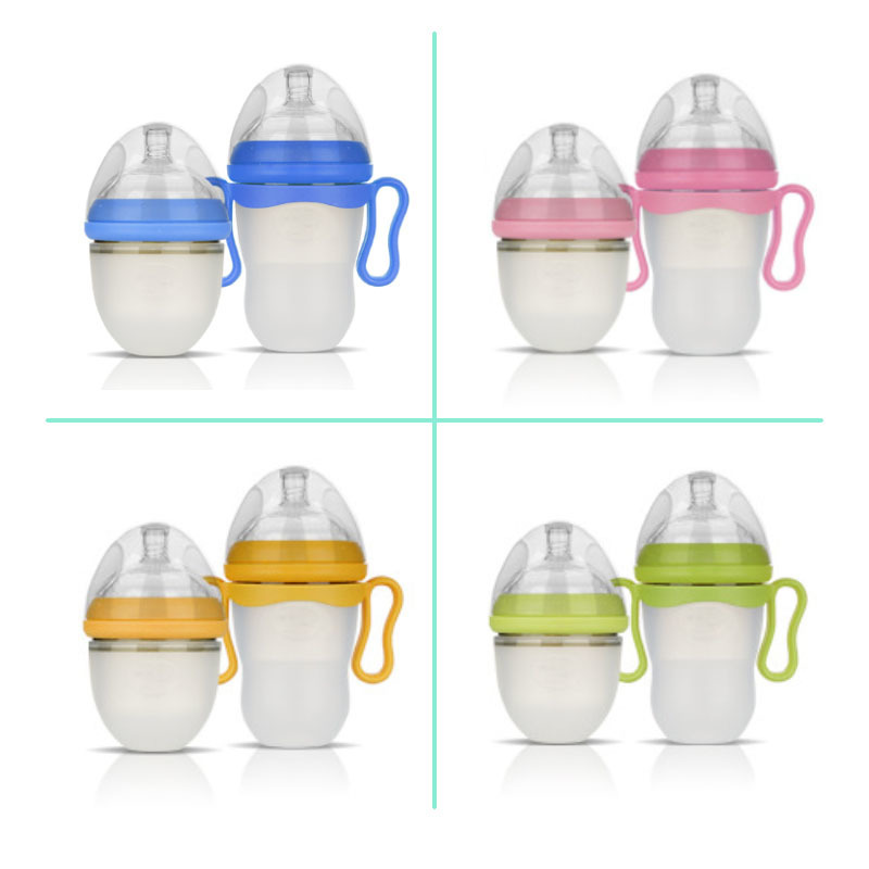 220ml Suvi Baby Silica Gel Big Mouth Milk Feeding Bottle Baby Anti-flatulence Extrusion Type with Handle Leakage-proof